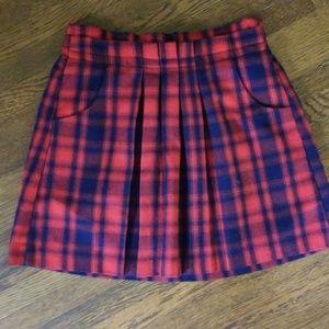 GAP girl's size L blue/red plaid skirt